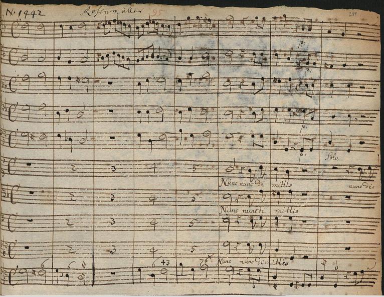 Nunc dimittis (Johann Rosenmüller) - Seite 1 der Handschrift der Slg Österreich-Bokemeyer
